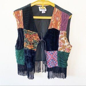 Vintage Patchwork & Fringe Vest